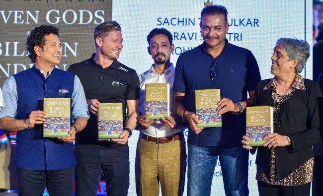 Cricket legend Sachin Tendulkar, Michael Clarke, Ravi Shashtri and Diana Edulji at the launch of book \