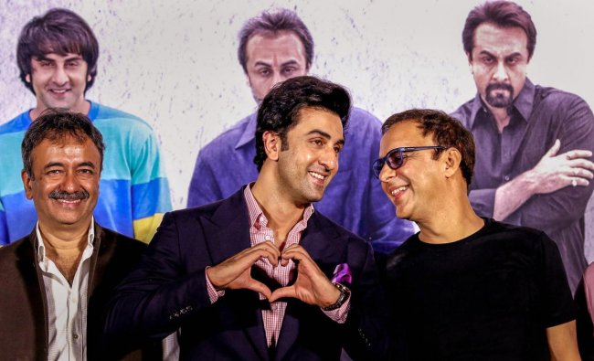 Bollywood actor Ranbir Kapoor during the teaser launch of upcoming biographical Hindi film 'Sanjay 'directed by Rajkumar Hirani and produced by Vidhu Vinod Chopra, in Mumbai on Tuesday. PTI Photo