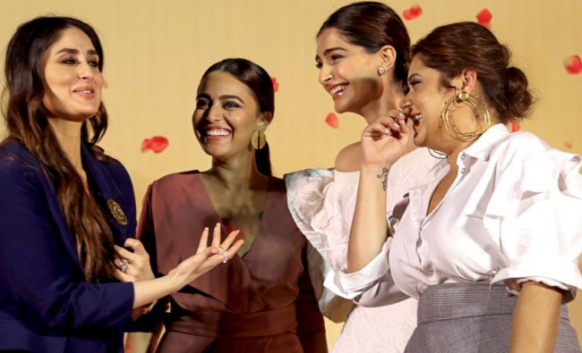 Bollywood actors (L-R) Kareena Kapoor, Swara Bhasker, Sonam Kapoor and Shikha Talsania during a trailer launch of their upcoming film \'Veere Di Wedding\' in Mumbai on Wednesday. PTI Photo