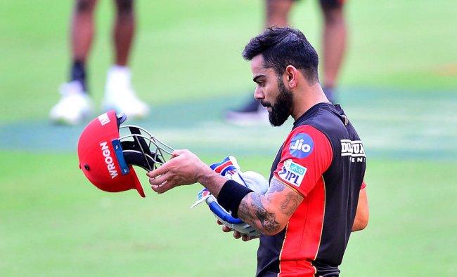 Royal Challengers Bangalore (RCB) Captain Virat Kohli during the practice in Chinnaswamy stadium, Bengaluru on Saturday. (DH Photo by P Ranju)