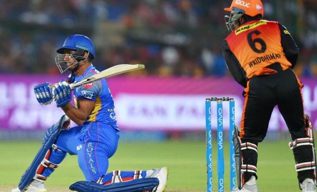 Rajasthan Royals\' batsman Mahipal Lomror plays a shot against Sunrisers Hyderabad during IPL T20 cricket match in Jaipur on Sunday. PTI Photo