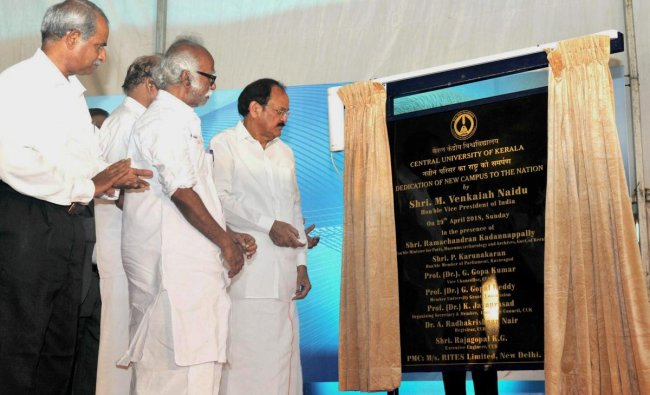 Vice-President M Venkaiah Naidu unveils the plaque to inaugurate the new campus of the Central University of Kerala, in Kasargod on Sunday. PTI Photo