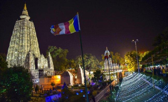 Maha Bodhi temple illuminated with lights ahead of Buddha Jayanti celebrations in Bodh Gaya. PTI Photo