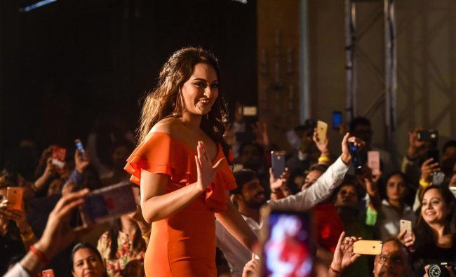 Bollywood actress Sonakshi Sinha at an event in New Delhi on Tuesday. PTI Photo