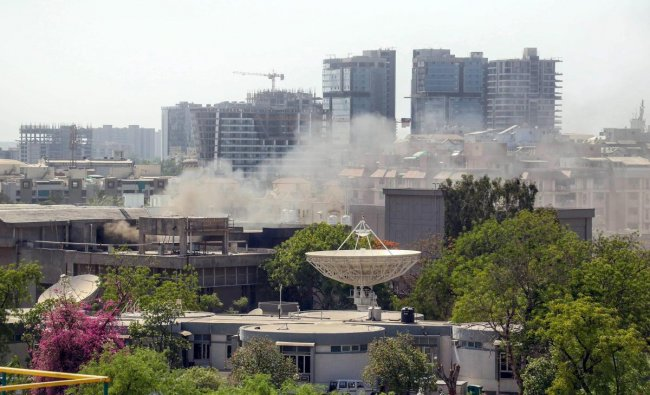 Smoke billows out of the Ahmedabad office of Indian Space Research Organisation (ISRO) where a fire broke out on Thursday afternoon. PTI Photo