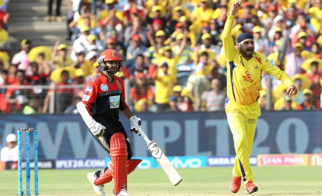 Chennai Super Kings\' Harbhajan Singh celebrates the dismissal of Royal Challengers Bangalore\'s AB de Villiers during an IPL cricket match in Pune on Saturday. PTI/BCCI