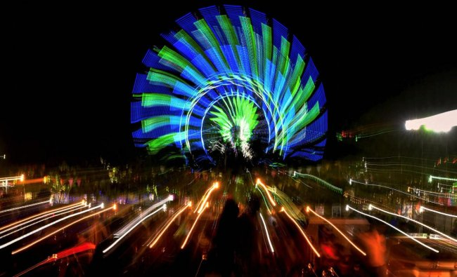 A colourful display of lights during Malwa Utsav 2018 in Indore on late Saturday. Artists from different parts of the country charm the cities of Indore and Ujjain from 2nd May to 8th May 2018 during the five-day festival. PTI