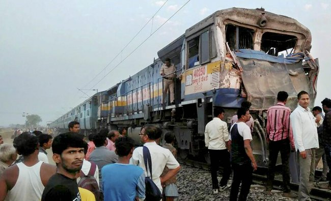 Chirmiri Express collided with a truck in Rewa district of Madhya Pradesh on Sunday. Two pilots and a truck driver of the train were injured in the accident. PTI