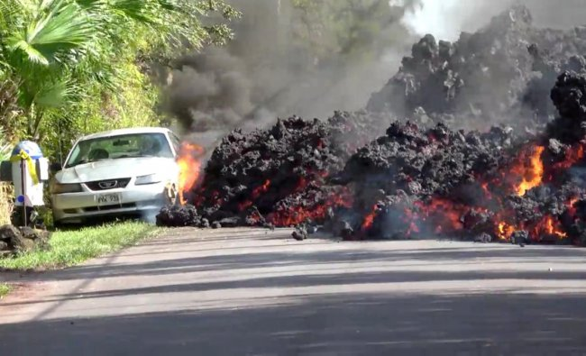 Lava engulfs a Ford Mustang in Puna, Hawaii, U.S. Reuters photo
