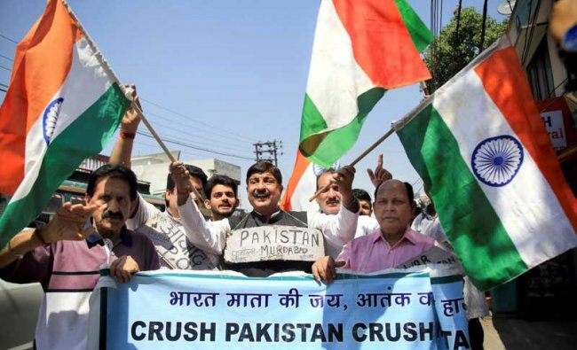 Members of Jammu West Assembly Movement raise slogans during a protest against Jammu and Kashmir Chief Minister Mehbooba Mufti after her appeal for a \'unilateral ceasefire\', in Jammu on Friday. PTI Photo