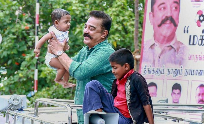 Makkal Needhi Maiam (MNM) President and actor Kamal Haasan during a rally at Panagudi town in Tirunelveli district of Tamil Nadu on Thursday. PTI Photo
