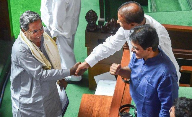 Former Chief Minister and Congress leader Siddaramaiah meets Congress leaders at Vidhana Soudha, in Bengaluru. PTI Photo