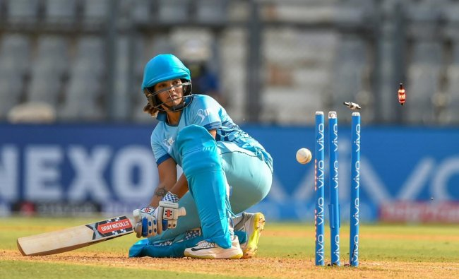 Supernovas\' Veda Krishnamurthy gets bowled out during IPL Women\'s T20 cricket match against Trailbrazers at Wankhede Stadium, in Mumbai. PTI Photo