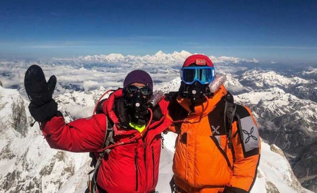 Kanchenjunga: Noida-based mountaineer Arjun Vajpai (left) and his friend Alex after summitting Kanchenjunga, the third highest mountain in the world. (PTI Photo)