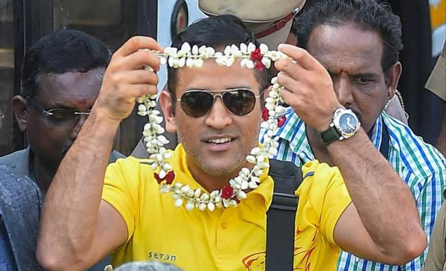 Chennai: Chennai Super Kings (CSK) skipper MS Dhoni being welcomed on his arrival at the Chennai Airport, in Chennai on Monday, May 28, 2018. CSK defeated SRH by 8 wickets to lift the IPL 2018 trophy on Sunday night. (PTI Photo)
