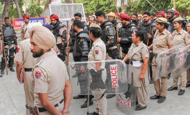 Pathankot: Heavy security deployed outside the Judicial Courts Complex during the trial of Kathua rape and murder case, in Pathankot, Punjab on Thursday, May 31, 2018. (PTI Photo)