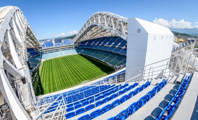 A photo shows the pitch and the stands of the Fisht Olympic Stadium in Sochi. During the World Cup, the 40,000-seater stadium will host four first round group games, one round of 16 match, and one quarter-final. Source: Mladen ANTONOV / AFP