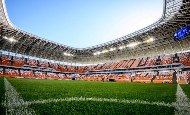 A view of the pitch and the stands of Mordovia Arena in Saransk. The 44,000-seater stadium will host four World Cup matches. Source: Mladen ANTONOV / AFP