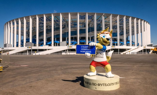A photo shows FIFA World Cup 2018 mascot Zabivaka, placed in front of the Nizhny Novgorod Arena in Nizhny Novgorod. the stadium will host four group matches, Round of 16 game and a quarter-final football match of the World Cup. Source: MLADEN ANTONOV / AFP