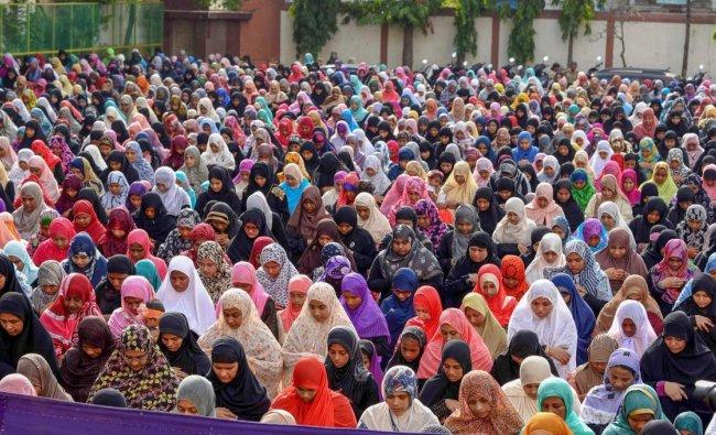Muslims offer Eid-al-Fitr prayers at a school ground, in Chennai on Saturday, June 16, 2018. PTI Photo