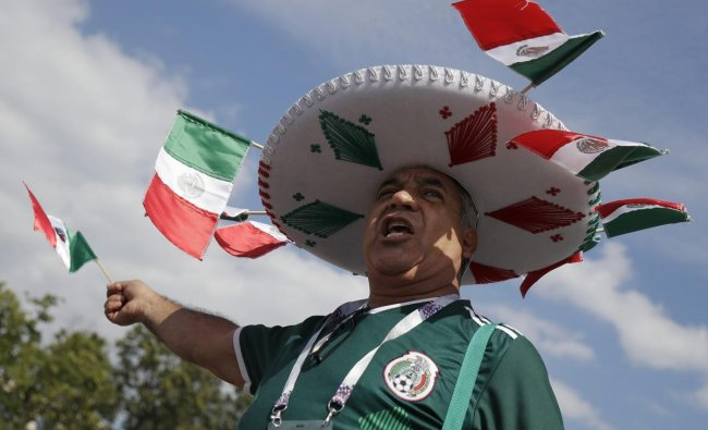A Mexican soccer supporters cheers ahead of the group F match between Germany and Mexico at the 2018 soccer World Cup in the Luzhniki Stadium in Moscow. AP/PTI