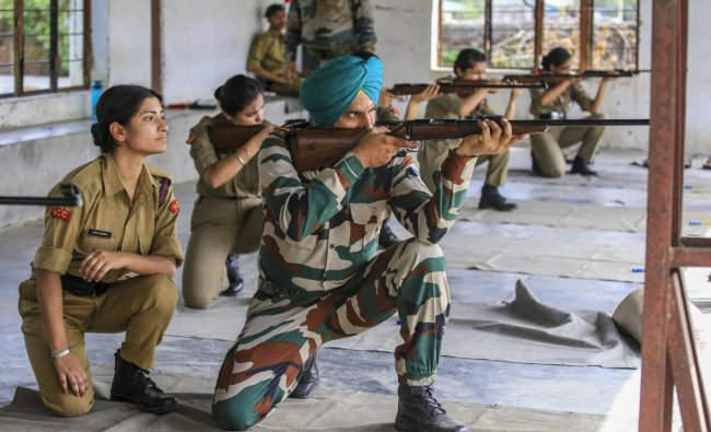 NCC cadets undergo a shooting training during Combined Army Training Camp at Nagrota on the outskirts of Jammu. PTI Photo
