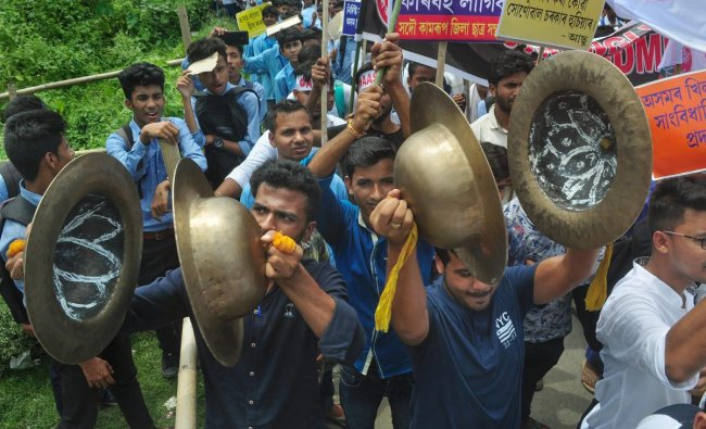 Activists of All Assam Students Union (AASU) takes out a protest rally against the Citizenship Amendment Bill 2018, in Guwahati. PTI Photo