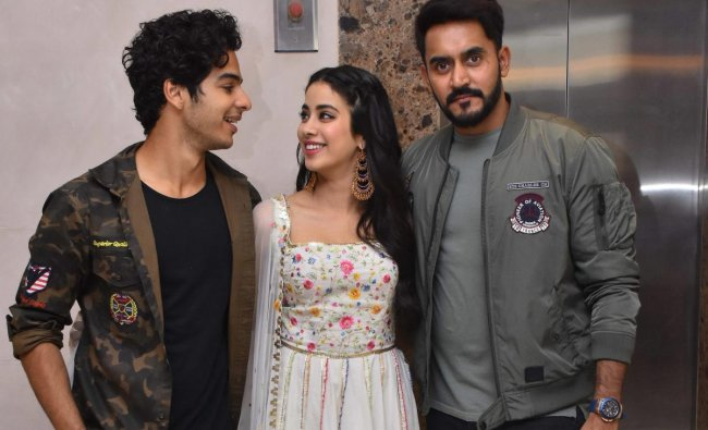 Actor Ishaan Khattar, Janhvi Kapoor and Director Shashank Khaitan during the promotion of their upcoming film \'Dhadak\', in Jaipur. PTI Photo
