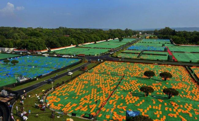 A view of Forest Research Institute ground ahead of the International Yoga Day, in Dehradun. PTI Photo