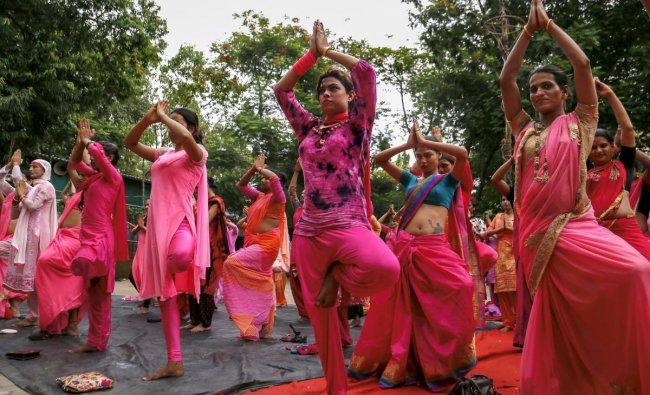 Members of Transgender community perform Yoga on the International Yoga Day, in Mumbai. PTI Photo