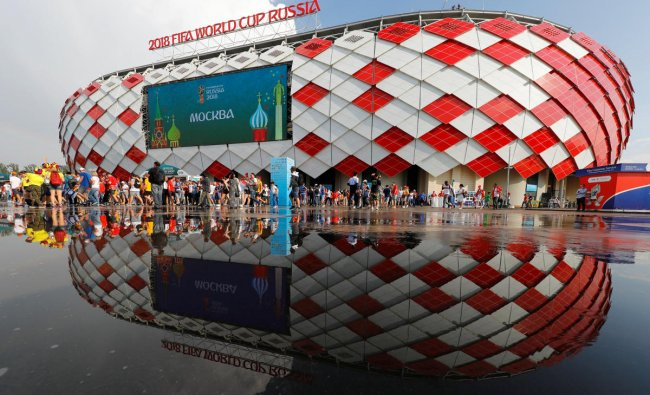 Soccer Football - World Cup - Group G - Belgium vs Tunisia - Spartak Stadium, Moscow, Russia - June 23, 2018 Fans leave the stadium after the end of the match REUTERS