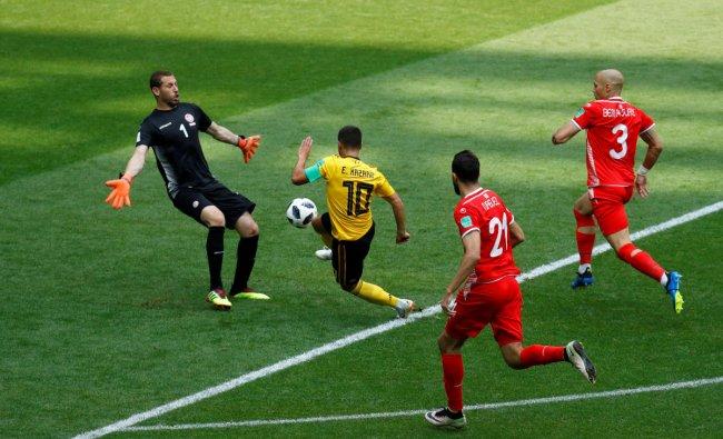 Soccer Football - World Cup - Group G - Belgium vs Tunisia - Spartak Stadium, Moscow, Russia - June 23, 2018 Belgium\'s Eden Hazard scores their fourth goal REUTERS