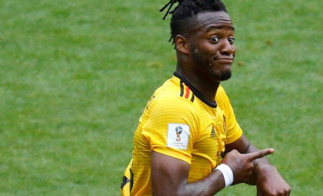 Soccer Football - World Cup - Group G - Belgium vs Tunisia - Spartak Stadium, Moscow, Russia - June 23, 2018 Belgium\'s Michy Batshuayi celebrates scoring their fifth goal REUTERS