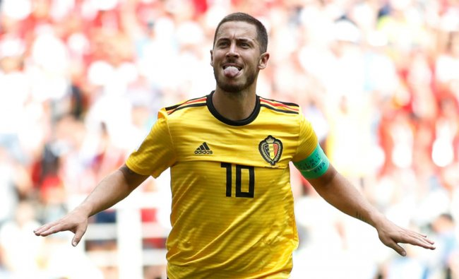 Belgium\'s Eden Hazard celebrates after scoring his second goal against Tunisia on Saturday. Reuters