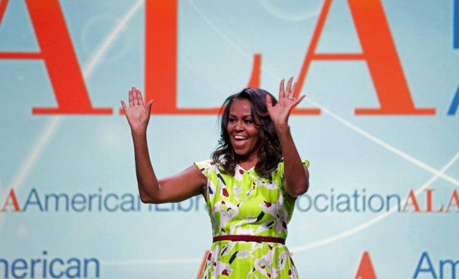Former first lady Michelle Obama waves as she arrives to speak at the American Library Association annual conference in New Orleans, Friday, June 22, 2018. AP/PTI