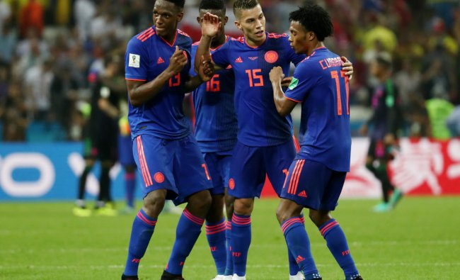 World Cup - Group H - Poland vs Colombia - Kazan Arena, Kazan, Russia - June 24, 2018 Colombia players celebrate after the match. Reuters