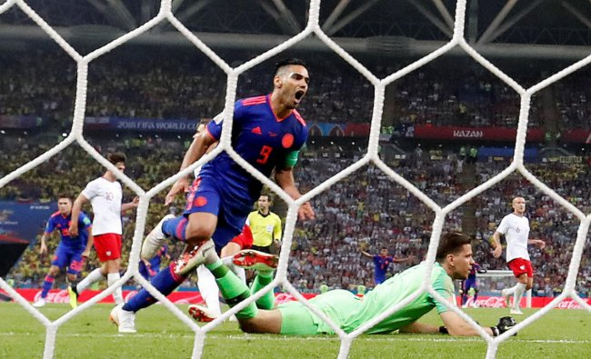 World Cup - Group H - Poland vs Colombia - Kazan Arena, Kazan, Russia - June 24, 2018 Colombia\'s Radamel Falcao scores their second goal. Reuters