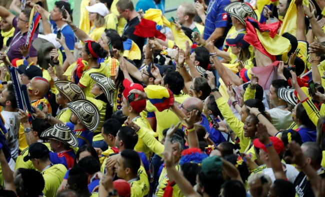 World Cup - Group H - Poland vs Colombia - Kazan Arena, Kazan, Russia - June 24, 2018 Colombia fans celebrate after the match. Reuters