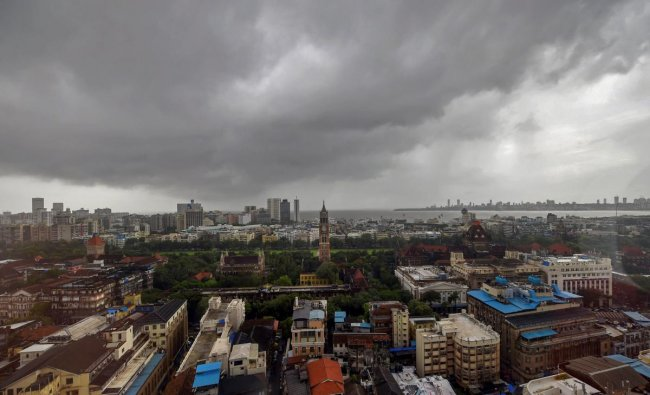 A top view of South Mumbai as monsoon clouds hover over the city, in Mumbai on Monday, June 25, 2018. PTI