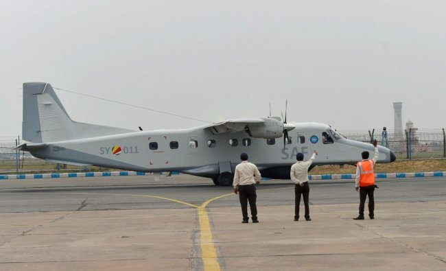 A Dornier aircraft ready to take off after it was handed over to Seychelles by India, at Palam Technical Area, in New Delhi on Tuesday, June 26, 2018. PTI