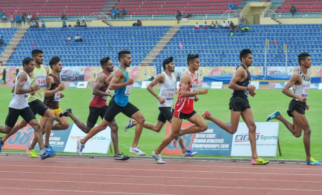 Participants at the heat event of 800 mt run during the 58th National Inter-State Senior Athletics Championship 2018, at Indira Gandhi Athletic Stadium in Guwahati on Tuesday, June 26, 2018. PTI