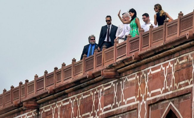 US envoy to the UN Nikki Haley waves during a visit to Humayun\'s Tomb, in New Delhi on Wednesday, June 27, 2018. PTI