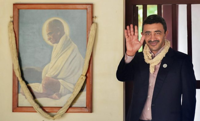 UAE\'s Foreign Minister Sheikh Abdullah Bin Zayed Al Nahyan during a visit to Gandhi Ashram, in Ahmedabad on Wednesday, June 27, 2018. PTI