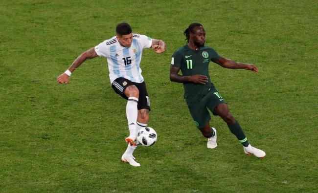 World Cup - Group D - Nigeria vs Argentina - Saint Petersburg Stadium, Saint Petersburg, Russia - June 26, 2018 Argentina\'s Marcos Rojo scores their second goal. Reuters