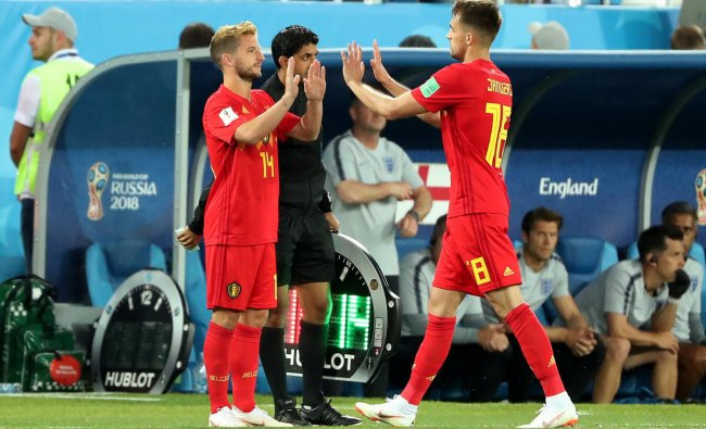 World Cup - Group G - England vs Belgium - Kaliningrad Stadium, Kaliningrad, Russia - June 28, 2018 Belgium\'s Dries Mertens comes on as a substitute to replace Adnan Januzaj. Reuters