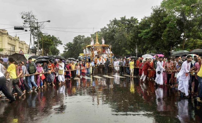 Devotees pull the chariot on the occasion of \