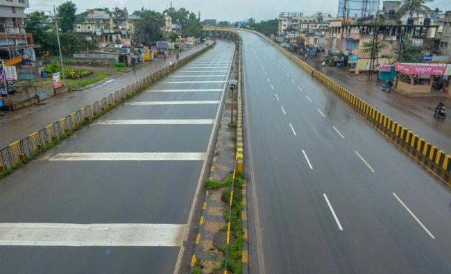 Pune-Bangalore National Highway wears a deserted look during a statewide bandh, called by Maratha Kranti Morcha for reservations in jobs and education, in Karad, Maharashtra. (PTI Photo)