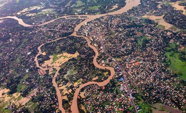 An aeriel view of the floods in Aluva after heavy rains, in Kerala on Friday, Aug 10, 2018. (PTI Photo)