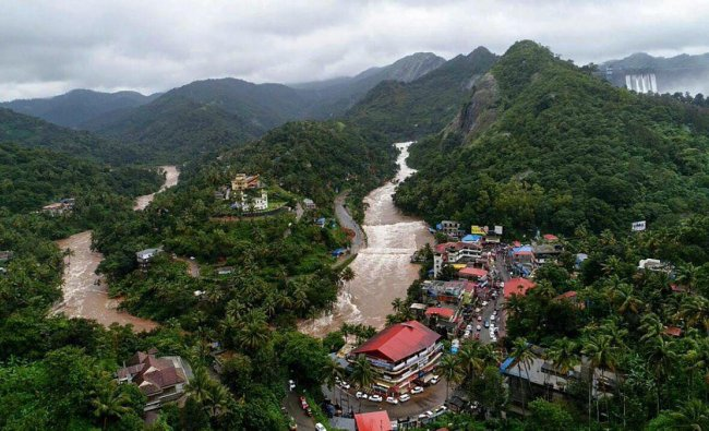 An aerial view of the flood-hit areas of the state of Kerala on Saturday, Aug 11, 2018. (@CMOKerala Photo via PTI)