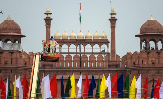Preparations at Red Fort on the eve of full dress rehearsal for Independence Day celebrations, in New Delhi on Sunday, Aug 12, 2018. (PTI Photo)